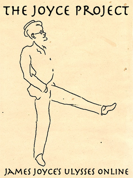 "Logo, featuring a dancing James Joyce and the words ""THE JOYCE PROJECT / JAMES JOYCE'S ULYSSES ONLINE"""